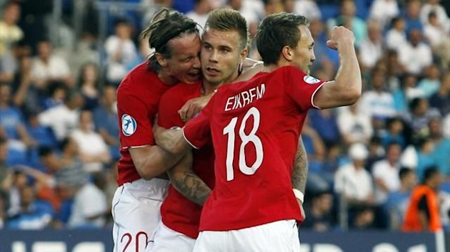 Norway's Marcus Pedersen (C) celebrates with team mates after scoring a goal during their European Under-21 Championship soccer match against Israel at Netanya Stadium, north of Tel Aviv June 5, 2013 (Reuters)