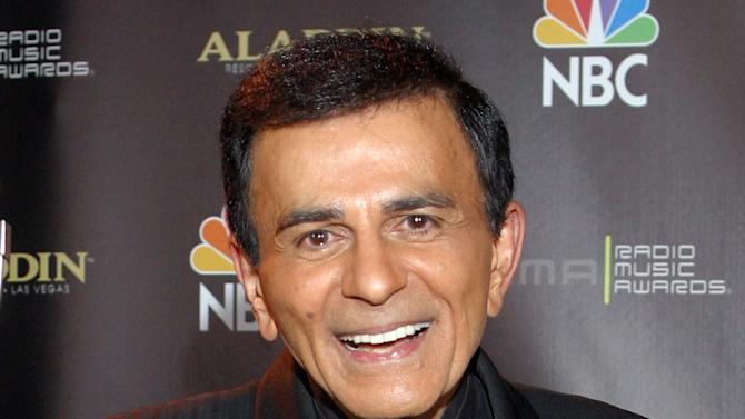 """FILE - In this Oct. 27, 2003, file photo, Casey Kasem poses for photographers after receiving the Radio Icon award during The 2003 Radio Music Awards at the Aladdin Resort and Casino in Las Vegas. A spokeswoman for the funeral service agency in the Norwegian capital says the wife of U.S. radio personality Kasem has cited her Norwegian heritage as a reason for burying her late husband in Oslo. Kasem, the host of """"American Top 40,"""" died June 15, 2014, in Washington at age 82. His death followed a lengthy battle over his care between wife Jean Kasem and his three adult children from his first marriage. (AP Photo/Eric Jamison, File)"""