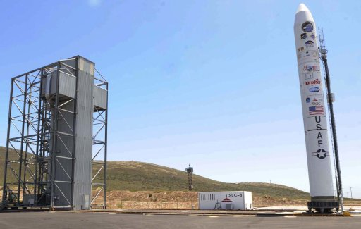 This Aug. 3, 2011 photo released by Vandenberg Air Force Base shows a Minotaur IV rocket standing beside Space Launch Complex-8 at Vandenberg Air Force Base, Calif. A hypersonic glider is scheduled for launch atop the Minotaur rocket, Thursday, Aug. 11, 2011. The Hypersonic Test Vehicle-2 is an experiment in extremely high speed flight technologies by the U.S. Defense Advanced Research Projects Agency. (AP Photo/U.S. Air Force, Staff Sgt. Scottie McCord)
