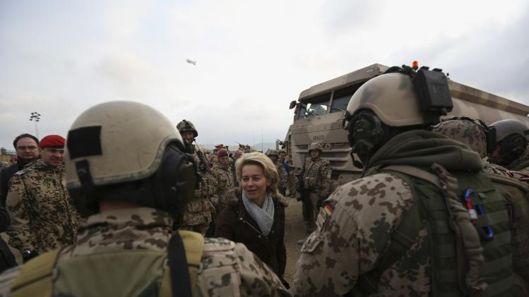 Newly appointed German Defence Minister Ursula von der Leyen talks with German troops in Mazar-i-Sharif