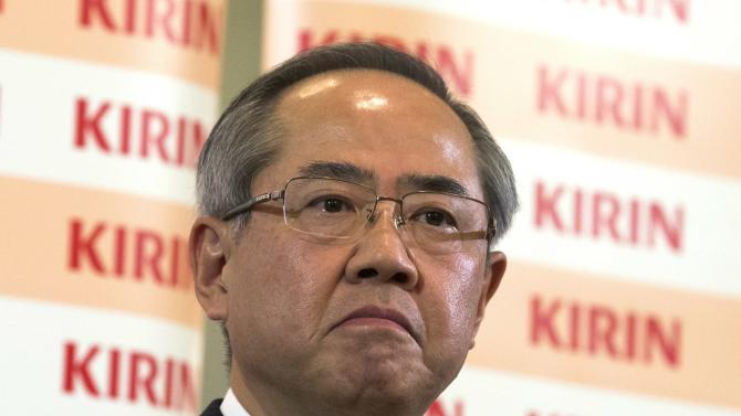 Upcoming President and CEO of Kirin Holdings Isozaki attends news conference in Tokyo