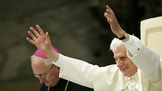 Pope Benedict XVI gestures during an audience in the Paul VI Hall, at the Vatican, Saturday, July 2, 2011. (AP Photo/Riccardo De Luca)