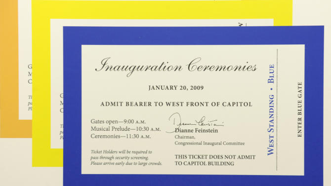FILE - In this Jan. 12, 2009, file photo, a display shows inauguration tickets as they were being counted and distributed on Capitol Hill in Washington. Tickets to President Barack Obama's inauguration 2013 inauguration haven't even been distributed yet, but are being peddled on eBay and Craigslist for up to $2,000 each _ and that for the swearing-in ceremony that is supposed to be free. Congressional offices and the Presidential Inaugural Committee, which are both distributing tickets to inaugural events, are trying to clamp down on the black market. So far, their efforts haven't stopped online entrepreneurs. (AP Photo/Susan Walsh, File)