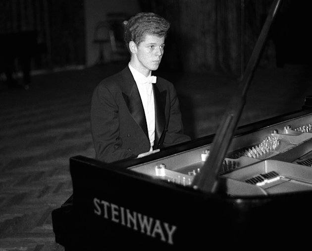FILE - This April 11, 1958 file photo shows pianist Van Cliburn performing in final round of Tchaikovsky International Piano & Violin competition in Moscow.  Cliburn, the internationally celebrated pi