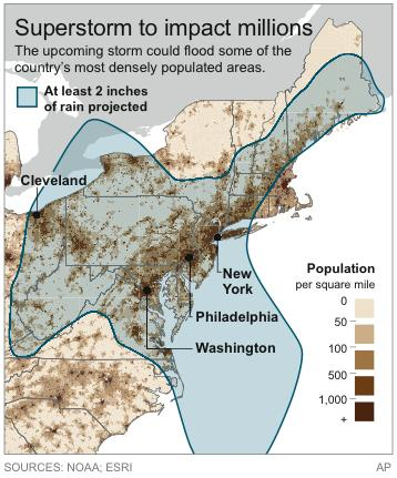 Graphic shows the population density of areas projected to get more than two inches of rain from the superstorm