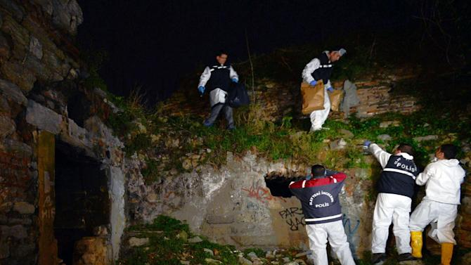 Police forensics search for missing New York City woman Sarai Sierra near the remnants of some ancient city walls in low-income district of Sarayburnu in Istanbul, Turkey, late Saturday, Feb. 2, 2013. Turkey's state-run news agency said that she has been found dead in Istanbul and police have detained nine people in connection with the case. Sierra, a 33-year-old mother of two, went missing while vacationing alone in Istanbul. Her body was discovered late Saturday amid the city walls.(AP Photo)