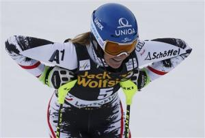 Marlies Schild of Austria reacts in the finish area during the first run of the women's slalom at the FIS Alpine Skiing World Cup Finals in Lenzerheide