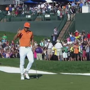 Rickie Fowler holes pressure putt on No. 18 at Waste Management