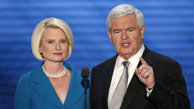 Former House Speaker Newt Gingrich and his wife Callista addresses the Republican National Convention in Tampa, Fla., on Thursday, Aug. 30, 2012. (AP Photo/J. Scott Applewhite)