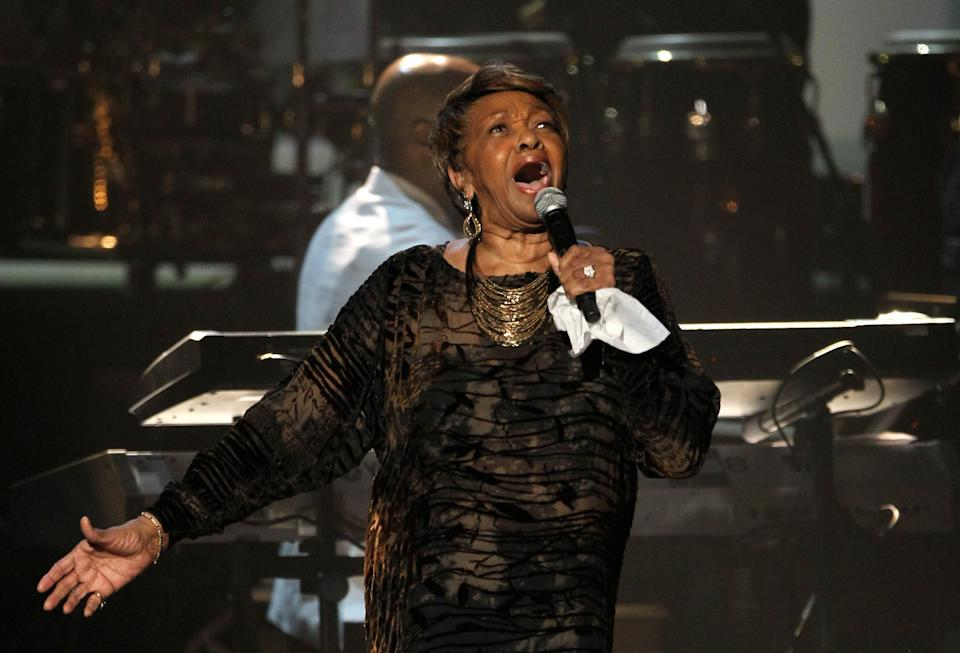 Cissy Houston performs during the in memoriam to her daughter Whitney Houston at the BET Awards on Sunday, July 1, 2012, in Los Angeles. (Photo by Matt Sayles/Invision/AP)