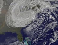 This GOES-13 satellite image was captured on Oct. 31 at 1240 UTC as Sandy&#39;s circulation was winding down over Pennsylvania. Sandy had been downgraded a remnant low pressure area.