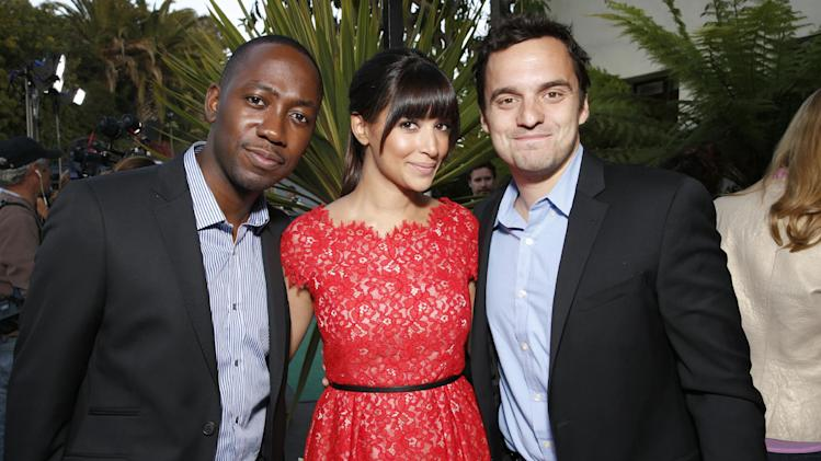 IMAGE DISTRIBUTED FOR FOX - From left, Lamorne Morris, Hannah Simone and Jake Johnson attend VERTE Grades of Green's annual fundraising event to benefit environmental education at Bel-Air Bay Club on April 11, 2013 in Pacific Palisades, California. (Photo by Todd Williamson/Invision for Fox/AP Images)