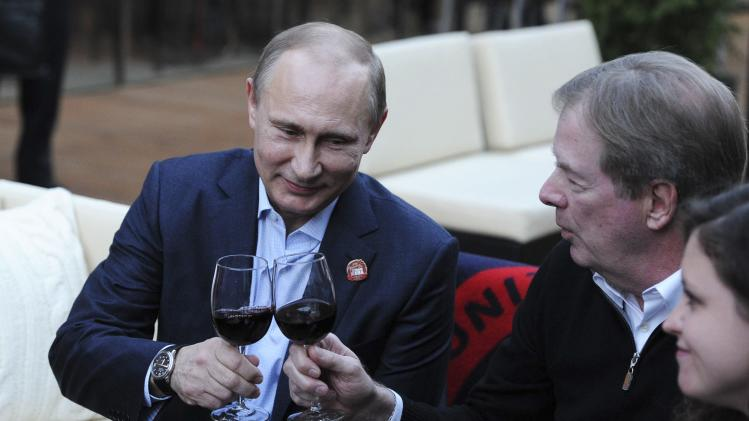 Russia's President Putin visits Team USA House during the Sochi 2014 Winter Olympics Games