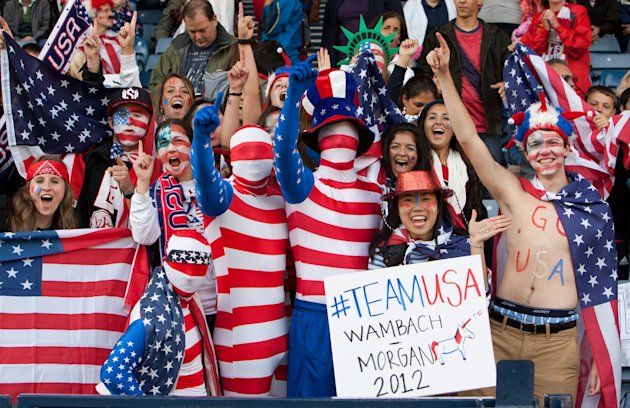 U.S. supporters cheer during the group G women's soccer match between the United States and Colombia at the London 2012 Summer Olympics, Saturday, July 28, 2012, at Hampden Park Stadium in Glasgow, Sc