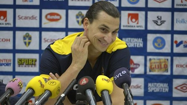 Zlatan Ibrahimovic addresses the football media in Stockholm