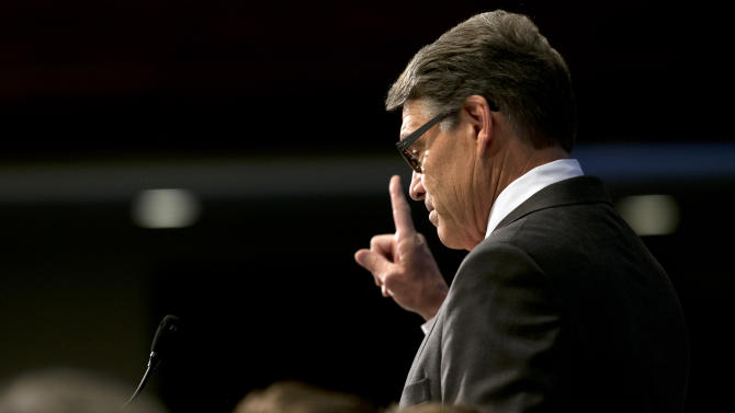 Republican presidential candidate, former Texas Gov. Rick Perry speaks at the National Press Club in Washington, Thursday, July 2, 2015. (AP Photo/Jacquelyn Martin)