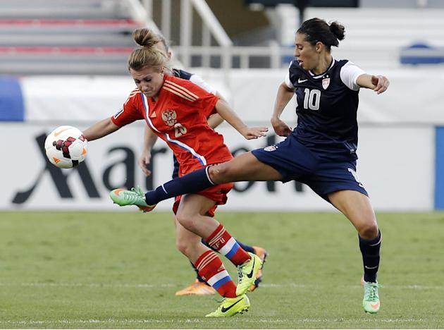 United States' Carli Lloyd (10) and Russia's Nelli Korovkina (20) battle for the ball during an international friendly soccer match in Boca Raton, Fla., Saturday, Feb. 8, 2014. The U.S. won 7-