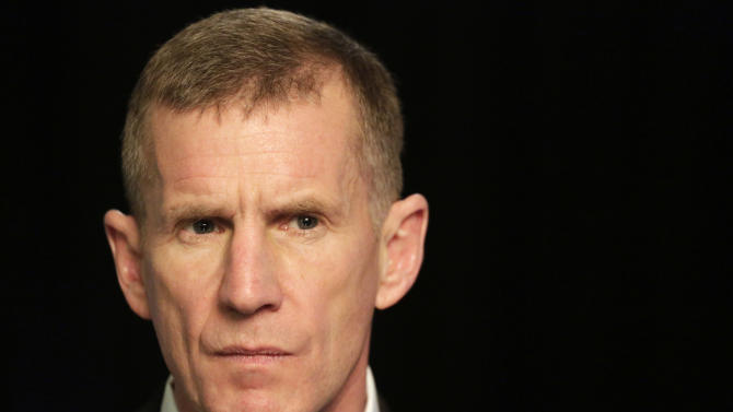 """Retired Gen. Stanley McChrystal reacts during an interview with The Associated Press, Monday, Jan. 7, 2013 in New York. McChrystal says he was """"completely surprised"""" by the uproar that followed publication of a Rolling Stone article featuring derogatory comments attributed to his staff about the Obama administration.  He is now promoting his new book entitled """"My Share of the Task."""" (AP Photo/Mark Lennihan)"""