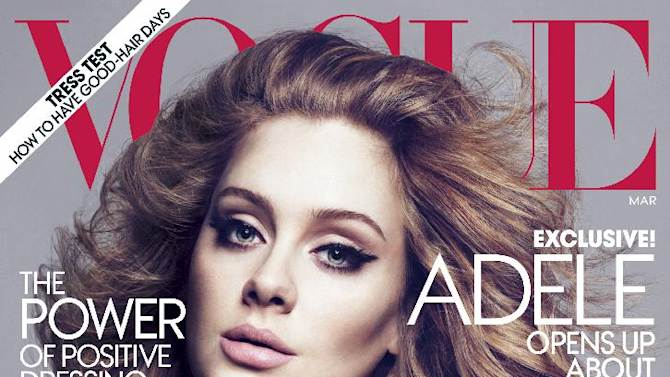 """FILE - In this magazine cover image photographed by Mert Alas and Marcus Piggott and released by Vogue, singer Adele is shown on the cover of the March issue of """"Vogue.""""  The singer talks about her life-changing year.  Adele rolled so deep in 2012 that she's been voted The Associated Press Entertainer of the Year.  (AP Photo/Vogue, File)"""