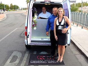 Stephanie Tucker and her new husband, Kelly Tucker, were the Wedding Wagon's first customers.