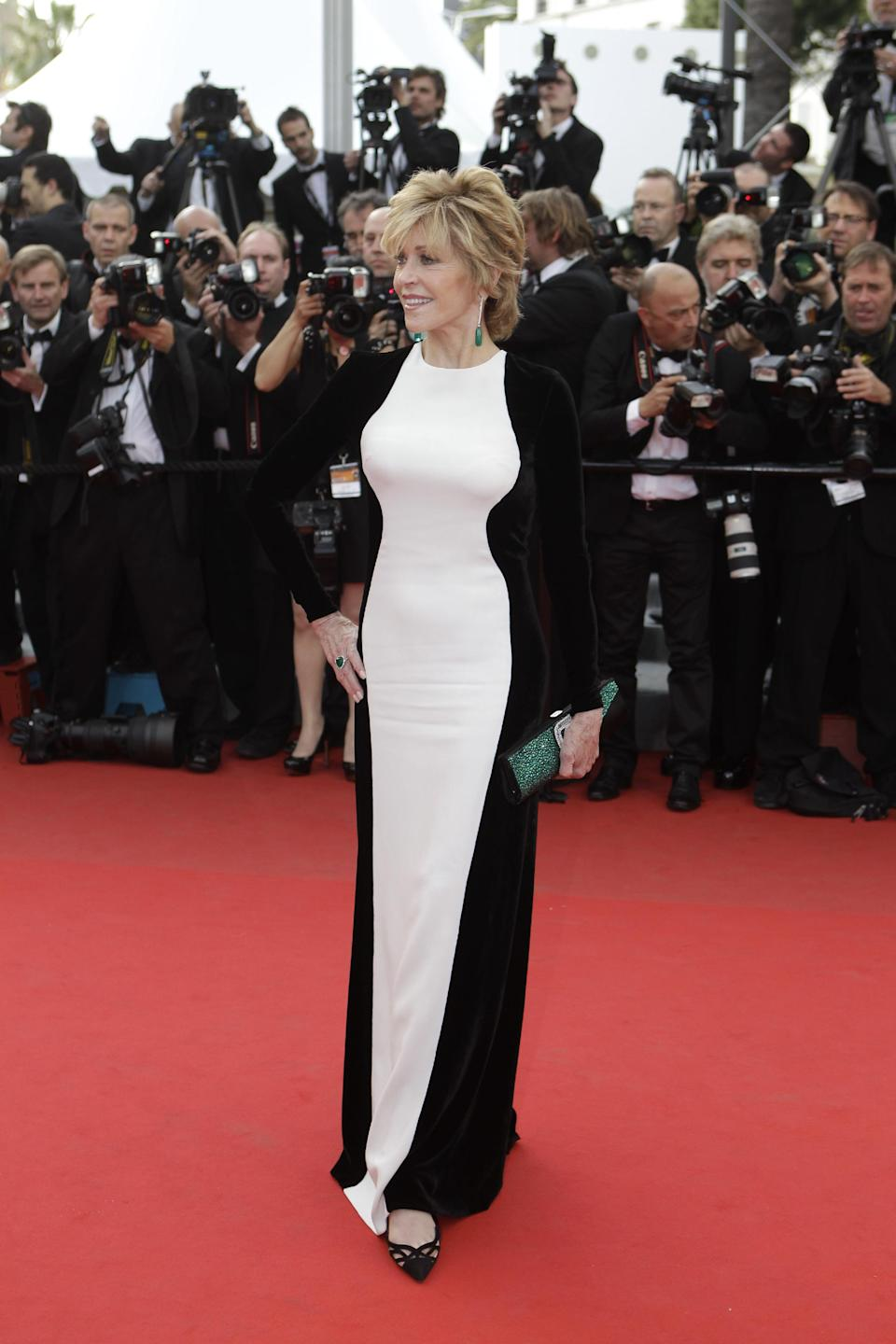 Actress Jane Fonda arrives for the screening of Rust and Bone at the 65th international film festival, in Cannes, southern France, Thursday, May 17, 2012. Fonda is wearing Stella McCartney. (AP Photo/Lionel Cironneau)
