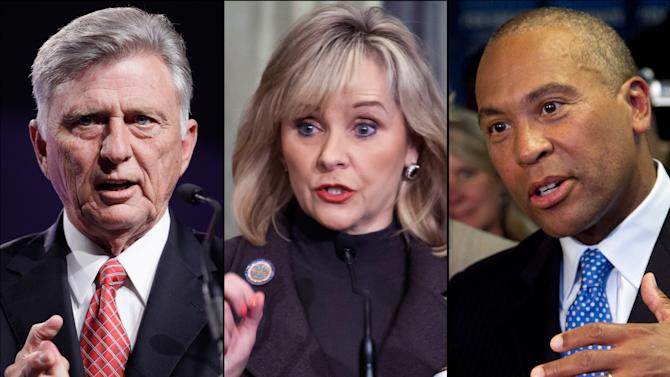 "FILE - This combination of undated 2012 file photos shows, from left, Arkansas Gov. Mike Beebe; Oklahoma Gov. Mary Fallin and Massachusetts Gov. Deval Patrick. The three governors, who are trying to piece together their own state budgets, are anxiously watching the ongoing stalemate in Washington as Republicans and Democrats struggle to avert a potential plunge over the federal ""fiscal cliff."" (AP Photo/File)"