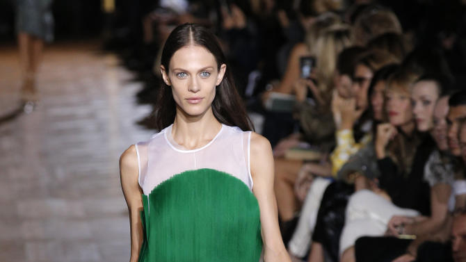 A model wears a creation for British fashion designer Stella McCartney's ready to wear Spring-Summer 2013 collection, presented in Paris, Monday, Oct.1, 2012. (AP Photo/Francois Mori)