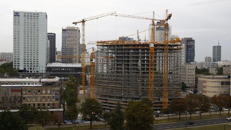 A general view of the construction site of the Warsaw Spire office skyscraper is pictured in Warsaw