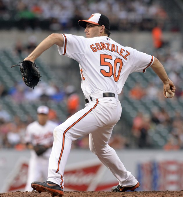 Baltimore Orioles starting pitcher Miguel Gonzalez pitches to the New York Yankees during the first inning of their MLB American League baseball game in Baltimore