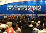 Suasana pembukaan Pra Kongres PSSI-KPSI 2012 di Jakarta pada Sabtu malam (21/1).