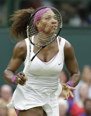 Serena Williams of the United States follows the ball during a quarterfinals match against Petra Kvitova of the Czech Republic at the All England Lawn Tennis Championships at Wimbledon, England, Tuesday, July 3, 2012. (AP Photo/Anja Niedringhaus)