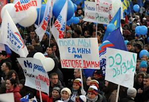 Kremlin supporters march on November 4, 2014 in the …