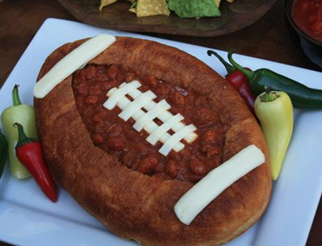 Chili in a Football Bread Bowl