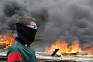 Spanish miners burn tires to cut a road during a miner's demonstration in Caborana, near Oviedo, in northern Spain