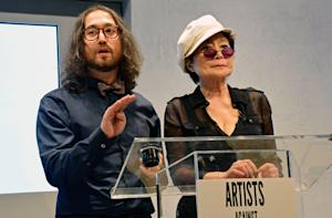 Yoko Ono and Sean Lennon Protest Fracking in Albany
