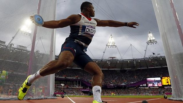 Britain's Lawrence Okoye competes in the men's discus throw final during the London 2012 Olympic Games
