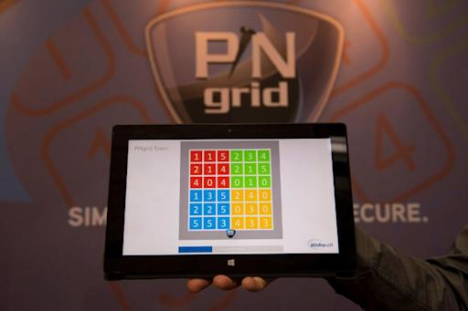 View of a PINgrid interface developed by Britain's Winfrasoft at the 2014 CeBIT computer technology trade fair on March 11 in Hanover, central Germany