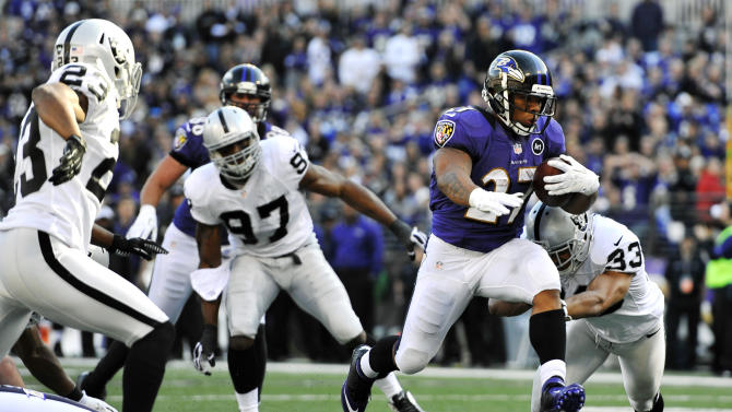 Baltimore Ravens running back Ray Rice runs into the end zone for a touchdown past Oakland Raiders defenders in the first half of an NFL football game in Baltimore, Sunday, Nov. 11, 2012. (AP Photo/Gail Burton)