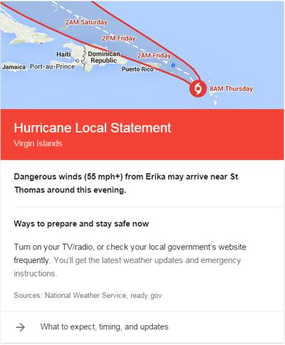 Google adds hurricane tips to personalized search results