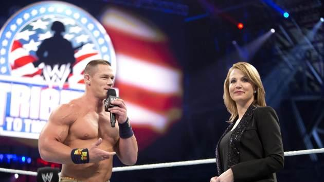 Michelle Beadle and John Cena during the 11th annual WWE Tribute to the Troops -- WWE