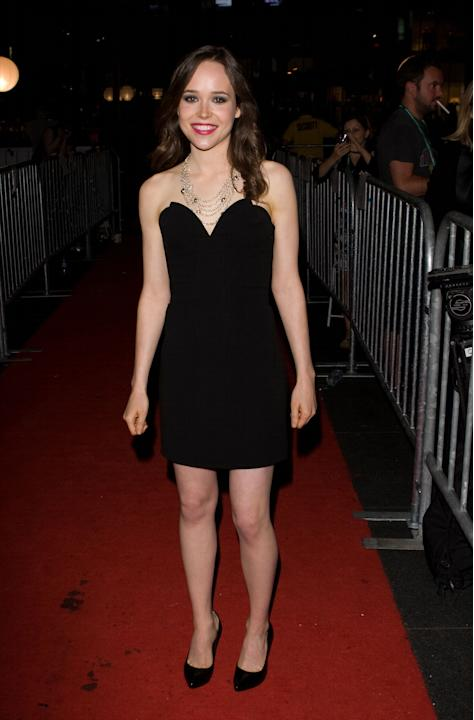 Ellen Page in a black sweetheart cocktail dress