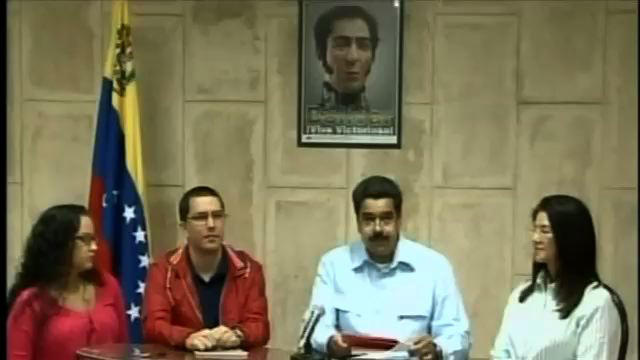 "In this frame grab taken from the government owned Venezolana de Television, Venezuela's Vice-President Nicolas Maduro, second right, speaks next to Minister of Technology Jorge Arreaza, second left, Venezuela's president Hugo Chavez's daughter Rosa Virginia, left, and Attorney General Cilia Flores, right, in a televised address from Havana, Cuba, Sunday, Dec. 30, 2012. Maduro said President Hugo Chavez has suffered ""new complications"" following his cancer surgery. (AP Photo/VTV)"
