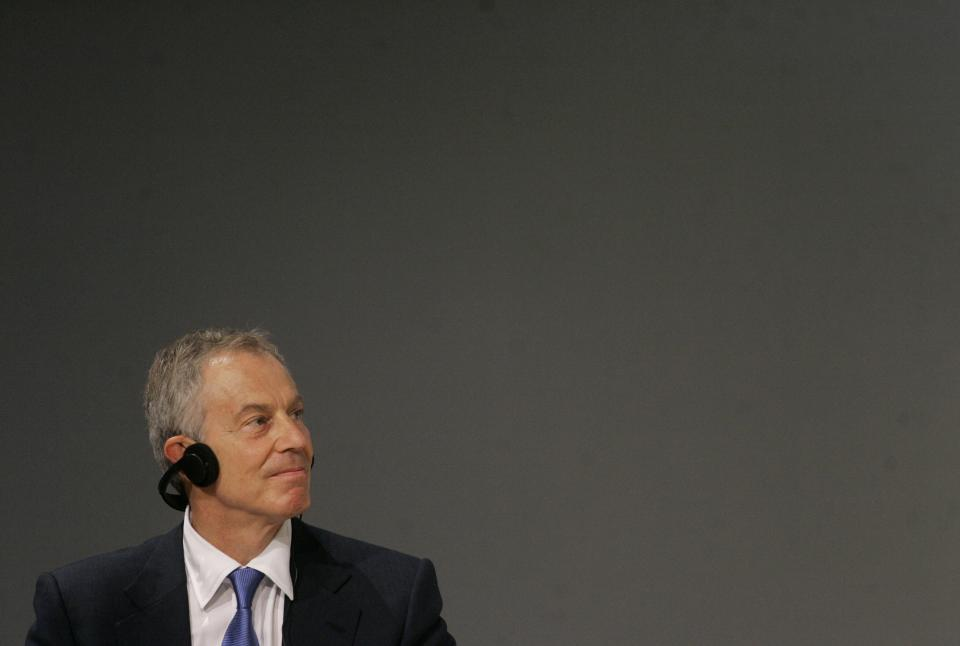 Former British Prime Minister Tony Blair looks on during a lecture with students about education at a university in Sao Paulo, Brazil, Tuesday, Oct. 26, 2010. (AP Photo/Nelson Antoine)