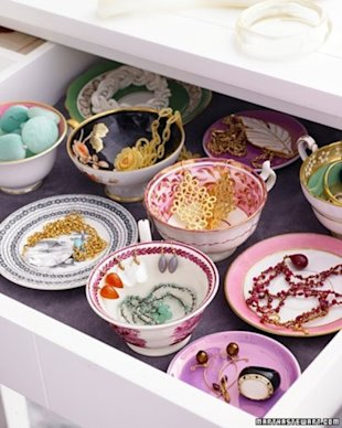 Vintage cups and saucers as jewelry holders