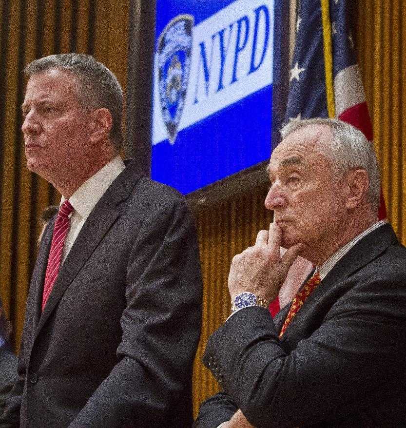 New York mayor caught between protests, police