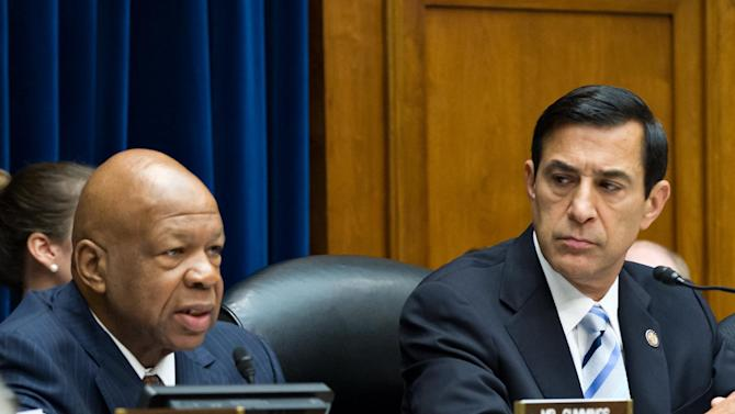FILE - The House Oversight and Government Reform Committee, led by Chairman Darrell Issa, R-Calif., right, considers whether to hold Attorney General Eric Holder in contempt of Congress, on Capitol Hill in Washington, in this June 20, 2012 file photo. Ranking Democrat Elijah Cummings of Maryland is at left. House Oversight and Government Reform Committee chairman Darrell Issa, a California Republican, and ranking Democrat Elijah Cummings of Maryland wrote NFLPA head DeMaurice Smith Monday Jan.28, 2013 to chastise the union for standing in the way of HGH testing and to warn that they might ask players to testify on Capitol Hill.    (AP Photo/J. Scott Applewhite, )ile