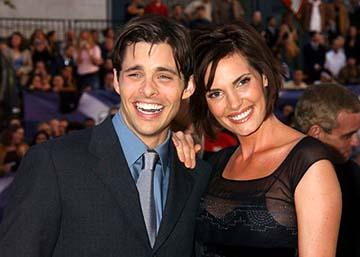 James Marsden and wife Lisa at the Hollywood premiere of 20th Century Fox's X2: X-Men United