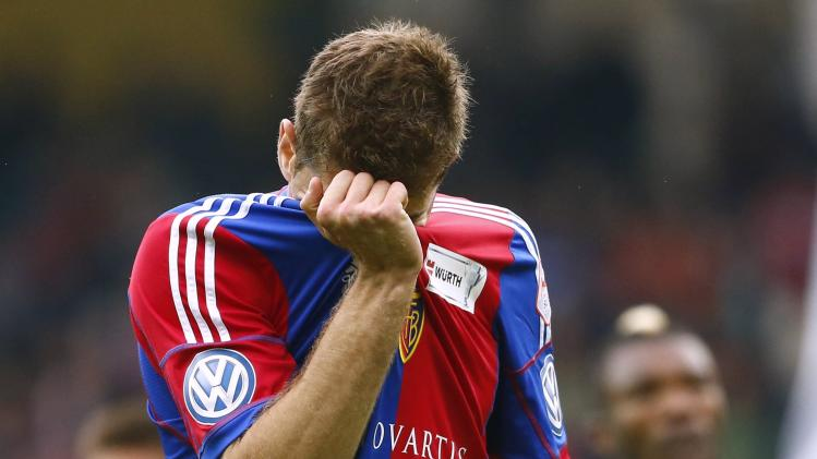FC Basel's Gaston Sauro reacts after being shown a red card during their Swiss Cup final soccer match against FC Zurich in the Stade de Suisse stadium in Bern