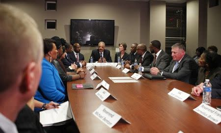 "U.S. Attorney General Holder meets with Atlanta law enforcement and community leaders for a forum titled ""The Community Speaks"", in Atlanta"