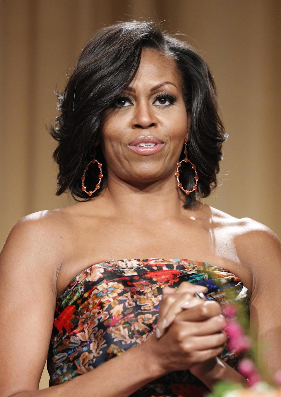 First lady Michelle Obama attends the White House Correspondents' Association Dinner headlined by late-night comic Jimmy Kimmel, Saturday, April 28, 2012, in Washington. (AP Photo/Haraz N. Ghanbari)